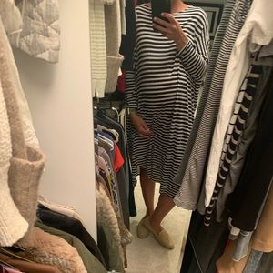 Hatch blue and white striped maternity dress